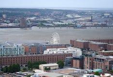 Una vista aerea di Liverpool che sembra di nord-ovest Fotografia Stock Libera da Diritti