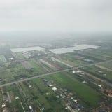 Una vista aerea mostra l'area della città fotografia stock libera da diritti