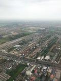 Una vista aerea mostra l'area della città immagini stock libere da diritti