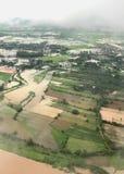 Una vista aerea mostra l'inondazione nella zona agricola immagine stock