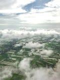 Una vista aerea mostra l'inondazione nella zona agricola fotografie stock