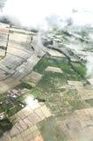 Una vista aerea mostra l'inondazione nella zona agricola immagini stock libere da diritti