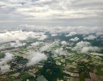 Una vista aerea mostra l'inondazione nella zona agricola fotografia stock
