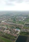 Una vista aerea mostra l'inondazione nella zona agricola immagine stock libera da diritti