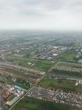 Una vista aerea mostra l'inondazione nella zona agricola fotografie stock libere da diritti