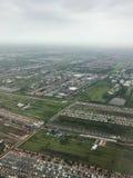 Una vista aerea mostra l'inondazione nella zona agricola fotografia stock libera da diritti