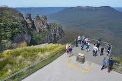 Una vista aerea tre della sorella allerta alle montagne blu Austra Immagine Stock Libera da Diritti