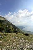 Una vista al lago Ocrida Fotografie Stock Libere da Diritti