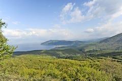 Una vista al lago Ocrida Immagini Stock Libere da Diritti