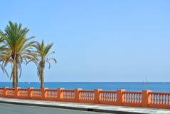 Una vista al mar Mediterráneo de una 'promenade' de la costa de la playa de Benalmadena y de un camino con las palmas en el foref Foto de archivo