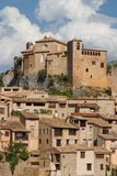 Una vista al villaggio di Alquezar del pictiresque Fotografie Stock