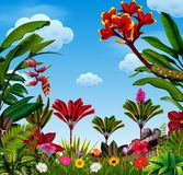 Una vista awasome con molti permesso e varianti del fiore illustrazione vettoriale