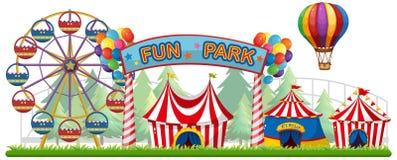 Una vista Colourful del parco di divertimento illustrazione vettoriale