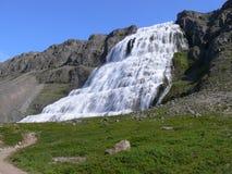 Una vista dal lato alla cascata potente Dynjandi sull'Islanda Fotografia Stock
