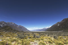 Una vista dal punto panoramico del ghiacciaio di Tasman Fotografia Stock