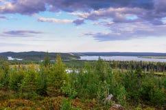 Una vista dalla collina sopra la foresta Fotografia Stock