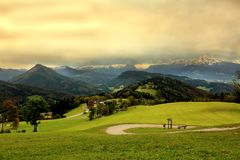 Una vista dalla montagna del geisberg Fotografie Stock Libere da Diritti