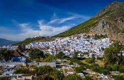Una vista de Chefchaouen, Marruecos Imagenes de archivo
