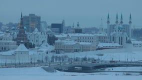 Una vista de Kazán, sitio principal - mezquita central Centro de ciudad de Kazán metrajes