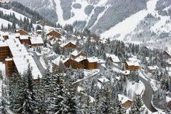 Una vista de la estación de esquí Imágenes de archivo libres de regalías