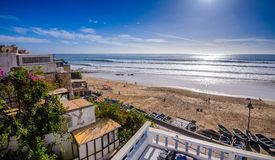 Una vista de la playa en el taghazoute, Marruecos 7 Imagen de archivo libre de regalías