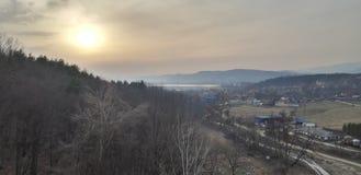 Una vista de la puesta del sol imagen de archivo libre de regalías