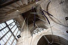 Una vista de los campaneros de campana de la ejecución ropes en la torre de Crowland Ab Imagen de archivo
