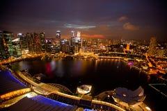 Una vista de Singapur del hotel de la bahía del puerto deportivo de la azotea Fotografía de archivo libre de regalías