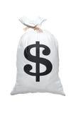 Una vista de un bolso lleno con la muestra de dólar americano Imagenes de archivo