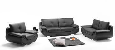 Una vista de un cuarto con el sofá de cuero Fotografía de archivo libre de regalías