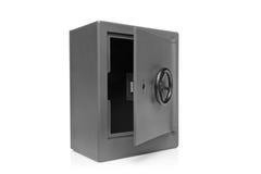 Una vista de una caja fuerte vacía gris del depósito de la seguridad Fotografía de archivo