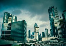 Una vista dei grattacieli del ` s di Hong Kong Fotografia Stock Libera da Diritti