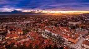 Una vista del centro de ciudad de Ljubljana del castillo, Eslovenia Imágenes de archivo libres de regalías