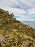 Una vista del lago Titicaca de la isla de Taquile Imágenes de archivo libres de regalías