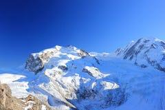 Una vista del massiccio di Monte Rosa da Gornergrat Le alpi, Svizzera Fotografia Stock Libera da Diritti