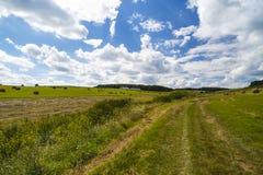 Una vista del paesaggio del raccolto in Rolling Hills in Romania con rotondo Immagine Stock