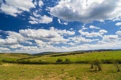 Una vista del paesaggio del raccolto in Rolling Hills in Romania con rotondo Immagini Stock