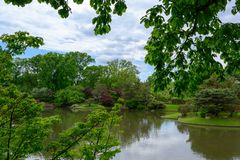 Una vista del paesaggio del giardino giapponese fotografia stock libera da diritti