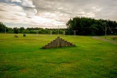 Una vista del patio del parque de Westfield en Aberdeen, Escocia Fotografía de archivo