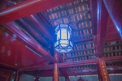 Una vista del templo adentro de la literatura en Hanoi, Vietnam imagenes de archivo