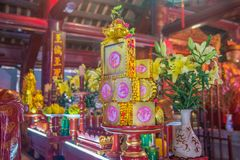 Una vista del templo adentro de la literatura en Hanoi, Vietnam imagen de archivo libre de regalías