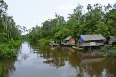 Una vista del villaggio della riva del fiume del fiume di Sekonyer, Indonesia fotografia stock