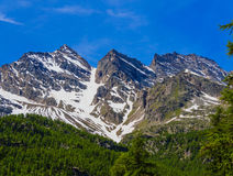 Una vista del wonderfull dei tre Levanne, è le montagne più famose nel parco nazionale di grande paradiso, nel Piemonte, l'Italia Fotografie Stock Libere da Diritti