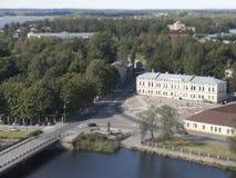 Una vista dell'estuario di Vuoksi ed il golfo di Finlandia nell'allerta si elevano in Vyborg, effetto della sfuocatura dello spos Fotografie Stock Libere da Diritti