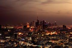 Una vista dell'orizzonte del Dubai, UAE da area di Deira Fotografia Stock Libera da Diritti