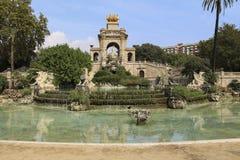 Una vista della fontana di Parc de la Ciutadella, a Barcellona, la Spagna Immagini Stock