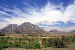 Una vista della regione dell'altopiano del Madagascar Fotografie Stock