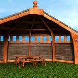 Una vista della tenda, casa estiva Esamini l'angolo royalty illustrazione gratis