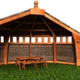 Una vista della tenda, casa estiva Esamini l'angolo illustrazione di stock