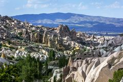 Una vista della valle del piccione a Uchisar in Turchia immagini stock libere da diritti